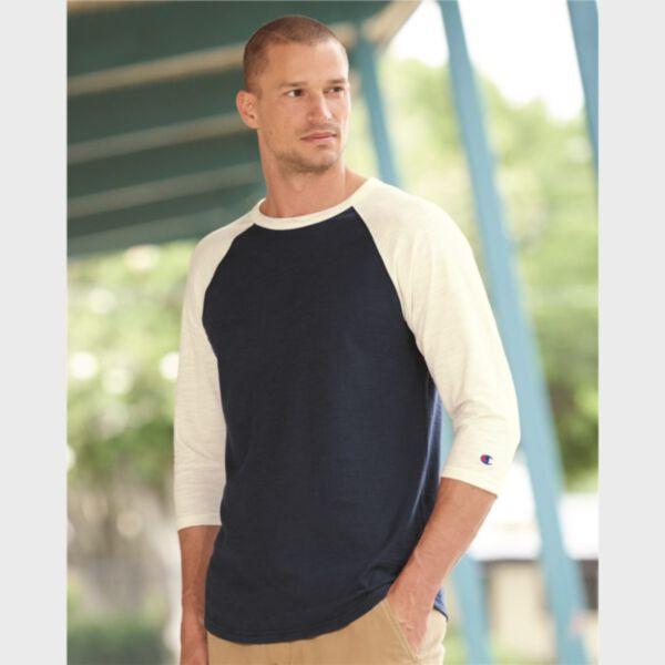 Champion Adult Ringspun Slub Baseball T-Shirt